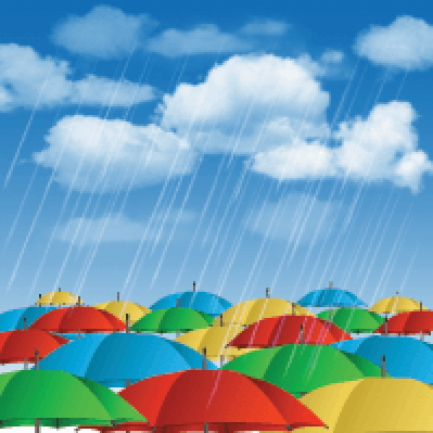 Colorful Umbrellas in Rain | Clipart