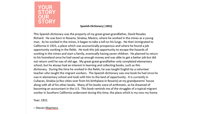 Your Story, Our Story   Spanish Dictionary: Essay
