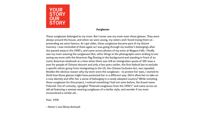 Your Story, Our Story | Sunglasses: Essay