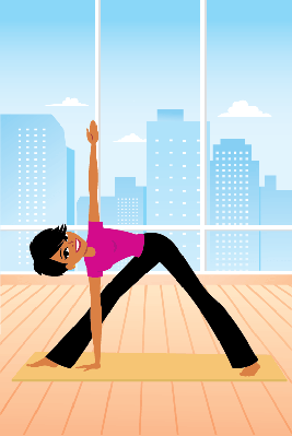 Portrait of Woman in Triangle Yoga Pose | Clipart