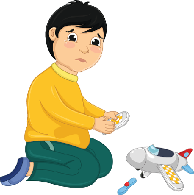 Boy with His Broken Toy  Illustration | Clipart