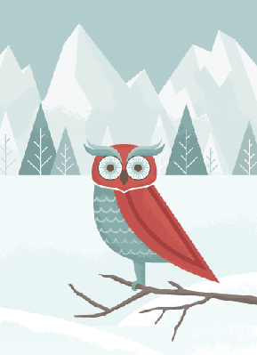 Four Seasons Scenery - Winter Owl | Clipart