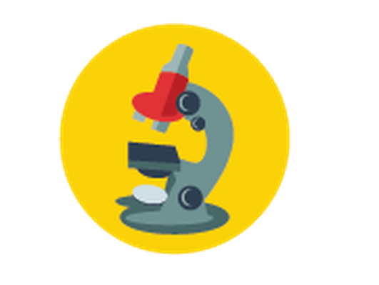 Science Icons - Yellow and Blue - Microscope | Clipart