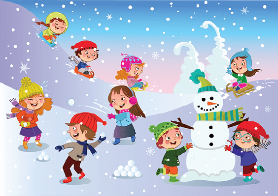 Four Seasons Scenery - Winter Fun | Clipart