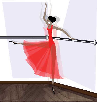 Exercising of Ballet Dancer in Red | Clipart