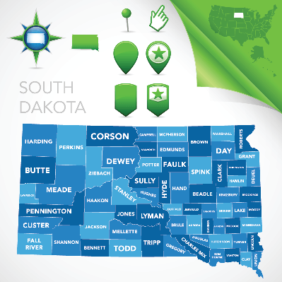 South Dakota County Map | Clipart