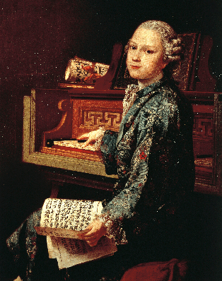 Wolfgang Amadeus Mozart (1756-1791) as Child at Harpsichord; Painting by Joseph-Siffred Duplessis (1725-1802) | Clipart