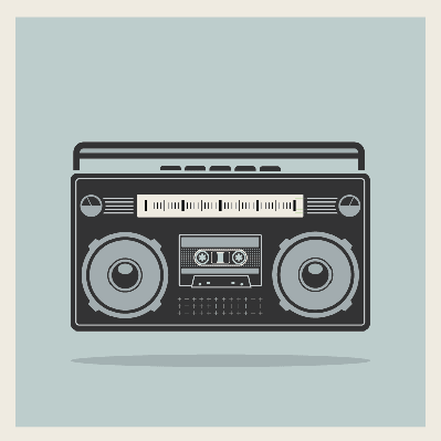 Classic 80S Boombox Cassette Player on Retro Background | Clipart