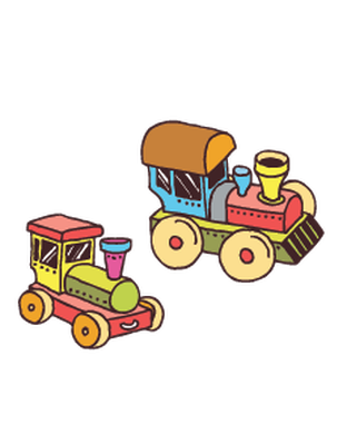 Hand Drawn Colorful Transport Toys Set  Illustration | Clipart