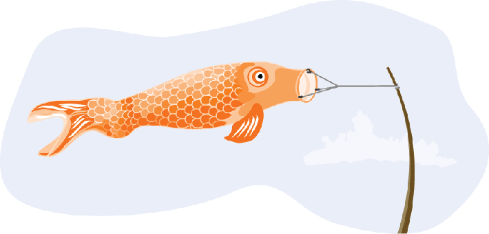 Japanese Fish Kite - Orange | Clipart