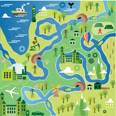 Cartoon Map Seamless Pattern with River | Clipart