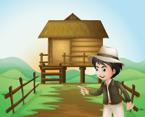 Boy with A Hat Standing Near The Nipa Hut | Clipart