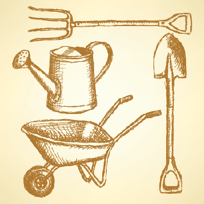 Garden Fork, Barrow, Watering Can, and Shovel: Background | Clipart
