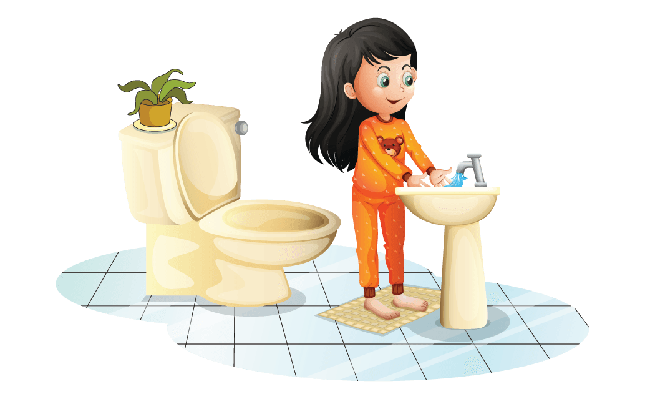 Cute Little Girl Washing Her Hands | Clipart