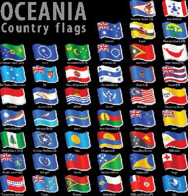 Oceanian National Flag Set | Clipart