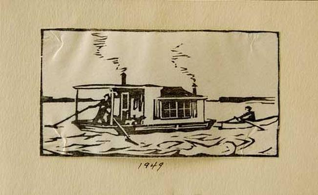 Woodblock print of shantyboat by Harlan Hubbard, 1949.