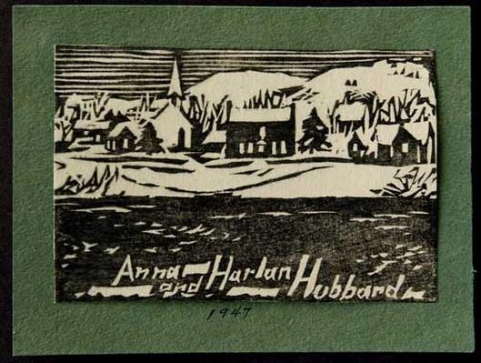 Woodblock print of a river town by artist Harlan Hubbard, 1947.