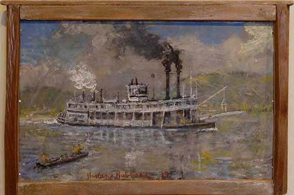 Acrylic Painting of a steamer chilo by Harlan Hubbard, 1985.
