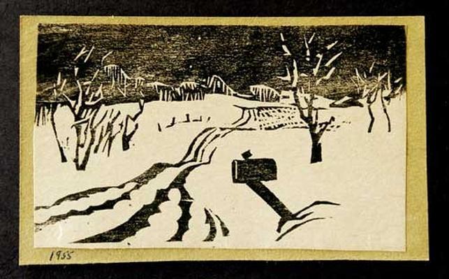 Woodblock print of a payne hollow mailbox by artist Harlan Hubbard, 1955.