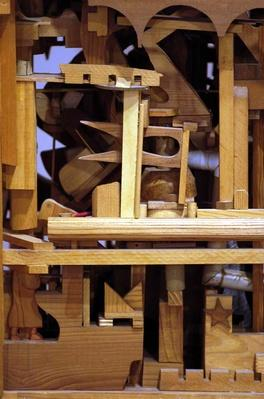 Wood crane by Marvin Finn, 1980