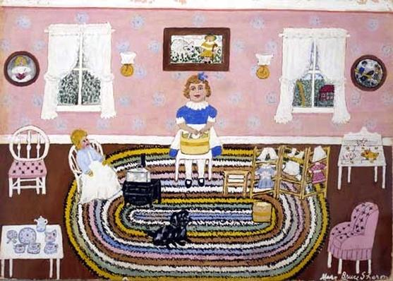 Gouache painting of a doll's washtub by artist Mary Bruce Sharon, c. 1950s.