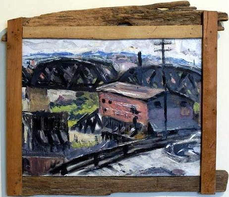 Oil painting of a railroad crossing by Harlan Hubbard, 1940