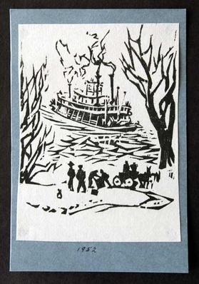 Black and white woodblock print of a steamboat landing by artist Harlan Hubbard, 1952.