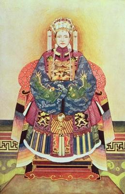 Portrait of Tzu Hsi, the Empress Dowager (1835-1908) (colour litho)