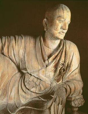 Figure of a lohan, Yuan dynasty (1260-1368) (wood)
