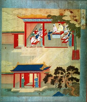 Civil Service Exam Under Emperor Jen Tsung (fl. 1022) from a history of Chinese emperors (colour on silk)