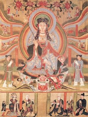 Buddhist banner depicting Dizang and the Six Roads to Rebirth, from Dunhuang (painting on silk)