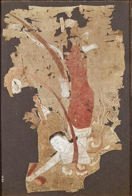 Flying genie or, Apsaras, from Dunhuang, Gansu Province, 9th-10th century (painting on silk)