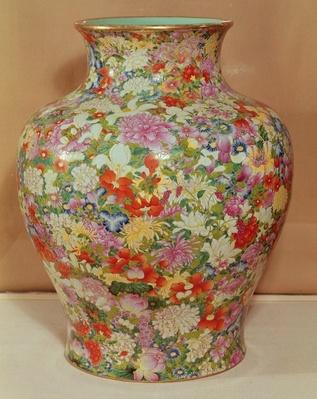 Famille Rose vase with a mille fleurs decoration, Qianlong Dynasty, 1736 -96 (ceramic)