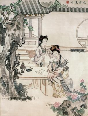 Chinese ladies in a garden (hair embroidery)