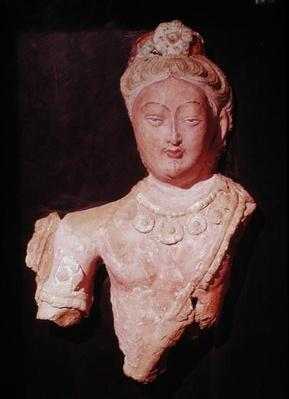 Head and bust of a Bodhisattva in princely costume, from Kumtura, Xinjiang, 7th-8th century (painted cob)