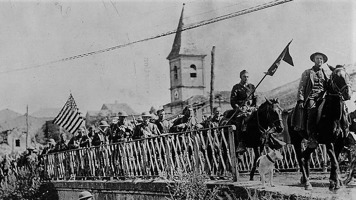 Photograph of American Troops marching to St. Mihiel