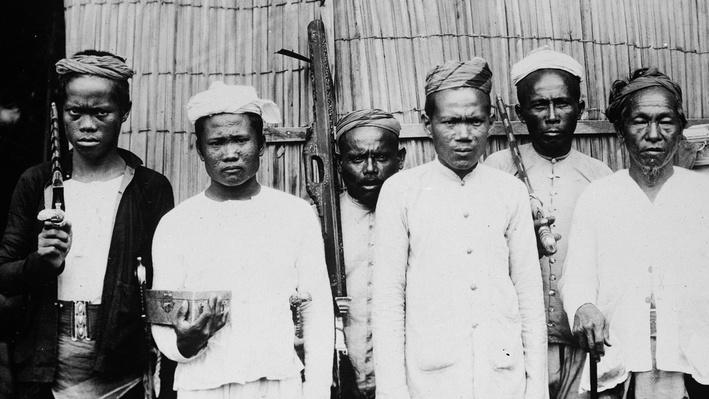 Photograph of the moro warriors from the Phillipines