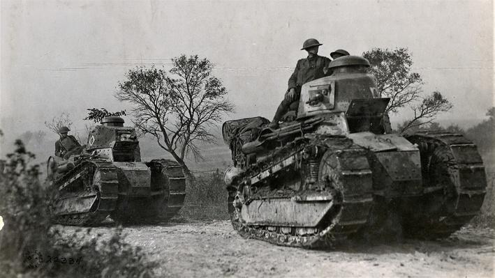 Photograph of American tanks