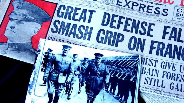 Newspaper Headlines on the war and Pershing