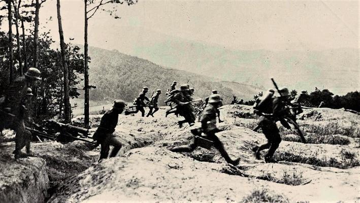 Photograph of German soldiers retreating at Belleau Wood