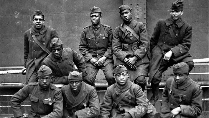 Photograph of African American soldiers in the 369th of New York