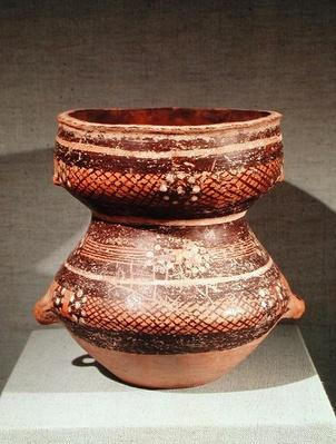 Vase with contracted waist, from Lanzhou, Gansu, late 3rd millennium BC (clay)
