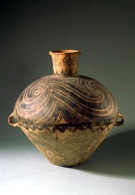 Vase painted with a spiral pattern, from Gansu Province, Bashan Period, 2650-2350 BC (clay)