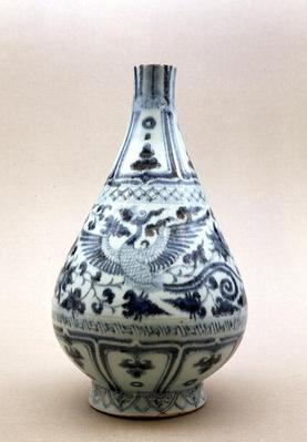 Blue and white vase, Yuan Dynasty (1206-1368) (ceramic)