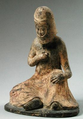 Funerary statuette of a traveller, Tang Dynasty (618-907) (stone)