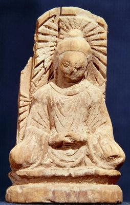 Seated Buddha in meditation, from Tumshuq (Xinjiang) 4th-5th century (wood)