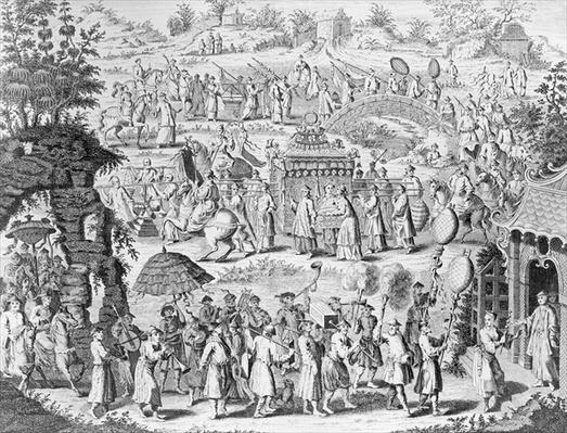 Procession of a bride going home to her husband, engraved by N. Parr (engraving) (b/w photo)