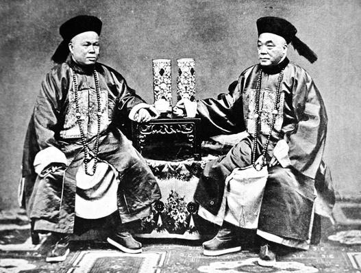 Rich Chinese merchants in traditional silk costumes c. 1890 (b/w photo)