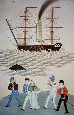 Chinese painting of the first British steamship and passengers to land at Canton c. 1840