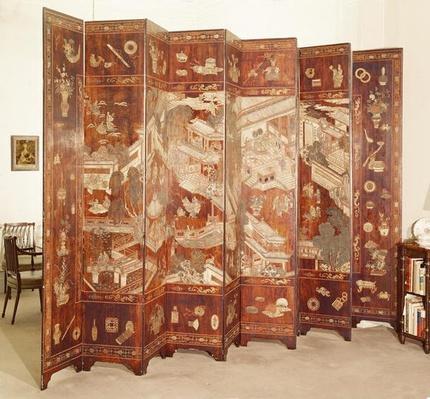Ten fold Cormandel 'Tete de Negre' screen, Chinese, late 17th century